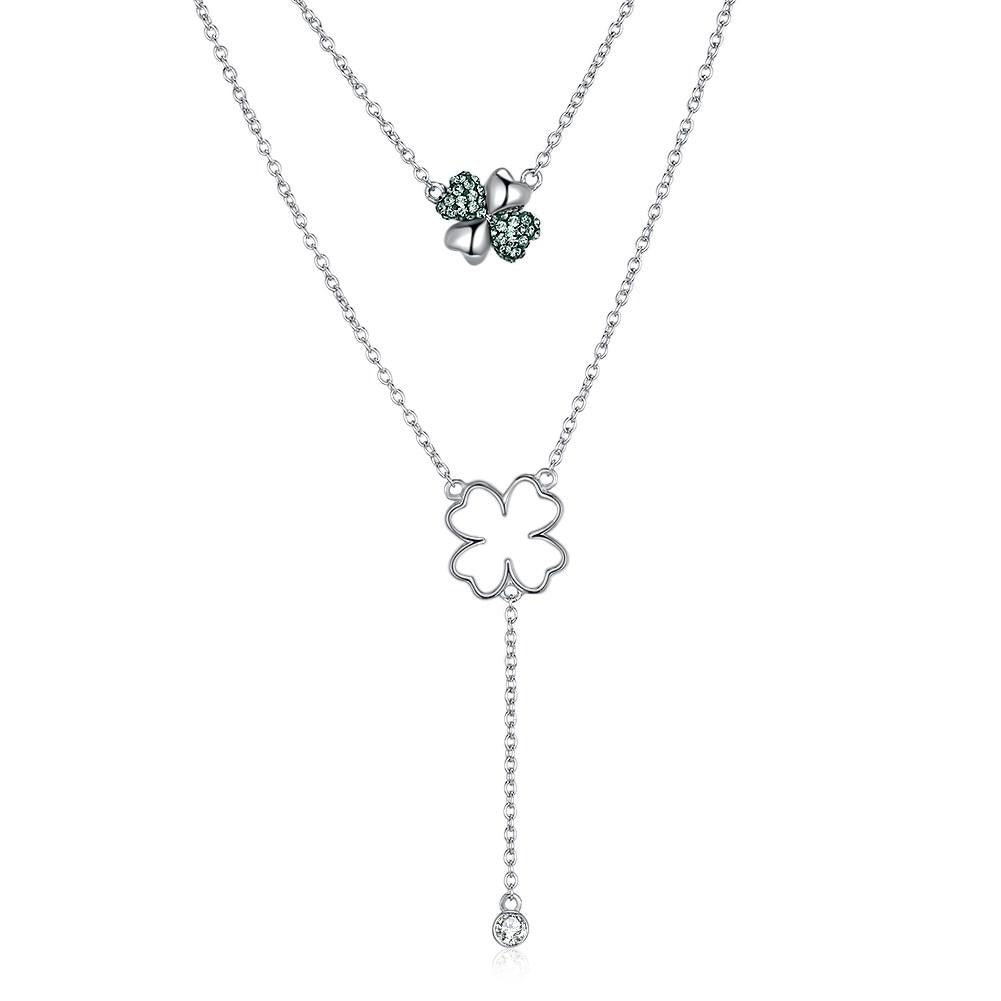 Double Layer Stone Stone Sterling Silver Swarovski Crystal Necklace
