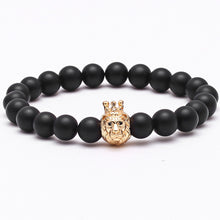 Load image into Gallery viewer, Men's Lion head Crown King bracelet/bangle brand with natural stone beads