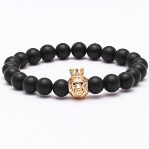 Men's Lion head Crown King bracelet/bangle brand with natural stone beads