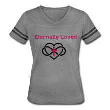 "Load image into Gallery viewer, ""Eternally Loved""  Women's Vintage Sport T-Shirt - heather gray/charcoal"