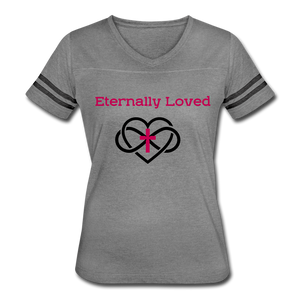 """Eternally Loved""  Women's Vintage Sport T-Shirt - heather gray/charcoal"