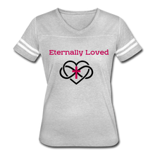 "Load image into Gallery viewer, ""Eternally Loved""  Women's Vintage Sport T-Shirt - heather gray/white"