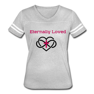 """Eternally Loved""  Women's Vintage Sport T-Shirt - heather gray/white"