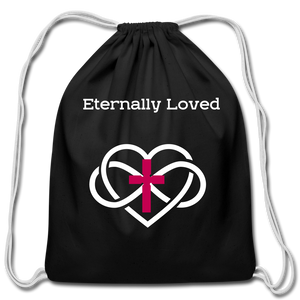 """Eternally Loved"" Cotton Drawstring Bag - black"