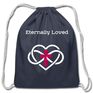 """Eternally Loved"" Cotton Drawstring Bag - navy"