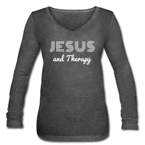 """Jesus and Therapy""  Women's Long Sleeve  V-Neck Flowy Tee - deep heather"