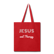 "Load image into Gallery viewer, ""Jesus and Therapy""  Tote Bag - red"