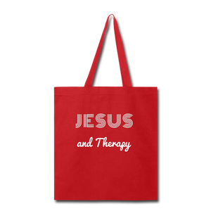 """Jesus and Therapy""  Tote Bag - red"