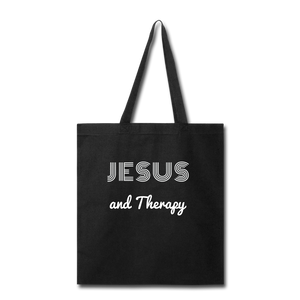 """Jesus and Therapy""  Tote Bag - black"
