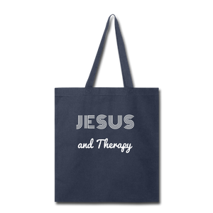 """Jesus and Therapy""  Tote Bag - navy"
