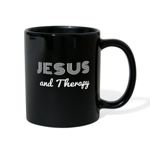 """Jesus and Therapy"" Full Color Mug - black"