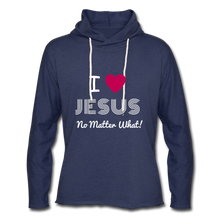 "Load image into Gallery viewer, ""I love Jesus""  Unisex Lightweight Terry Hoodie - heather navy"