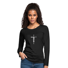 Load image into Gallery viewer, Signature Jesus_Cross Women's Premium Slim Fit Long Sleeve T-Shirt - black