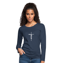 Load image into Gallery viewer, Signature Jesus_Cross Women's Premium Slim Fit Long Sleeve T-Shirt - navy