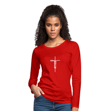 Load image into Gallery viewer, Signature Jesus_Cross Women's Premium Slim Fit Long Sleeve T-Shirt - red
