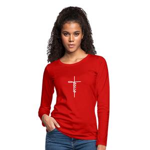 Signature Jesus_Cross Women's Premium Slim Fit Long Sleeve T-Shirt - red