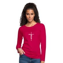 Load image into Gallery viewer, Signature Jesus_Cross Women's Premium Slim Fit Long Sleeve T-Shirt - dark pink