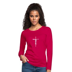Signature Jesus_Cross Women's Premium Slim Fit Long Sleeve T-Shirt - dark pink