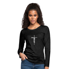 Load image into Gallery viewer, Signature Jesus_Cross Women's Premium Slim Fit Long Sleeve T-Shirt - charcoal gray