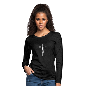 Signature Jesus_Cross Women's Premium Slim Fit Long Sleeve T-Shirt - charcoal gray