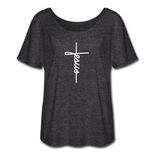 Load image into Gallery viewer, Signature Jesus Women's Flowy T-Shirt - charcoal gray