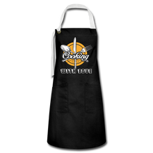 Load image into Gallery viewer, Cooking with Love Artisan Apron - black/white