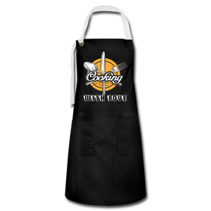 Cooking with Love Artisan Apron - black/white
