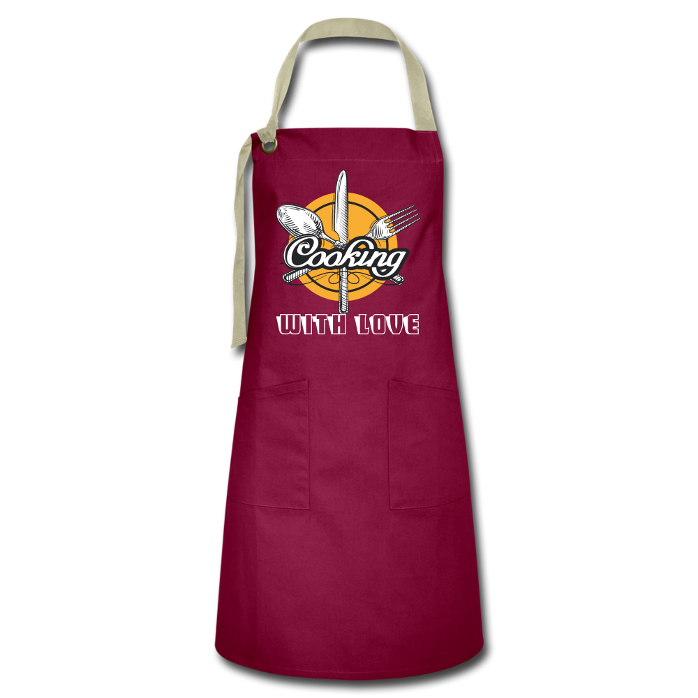 Cooking with Love Artisan Apron - burgundy/khaki