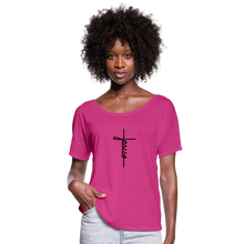 Load image into Gallery viewer, Signature Jesus Women's Flowy T-Shirt - dark pink