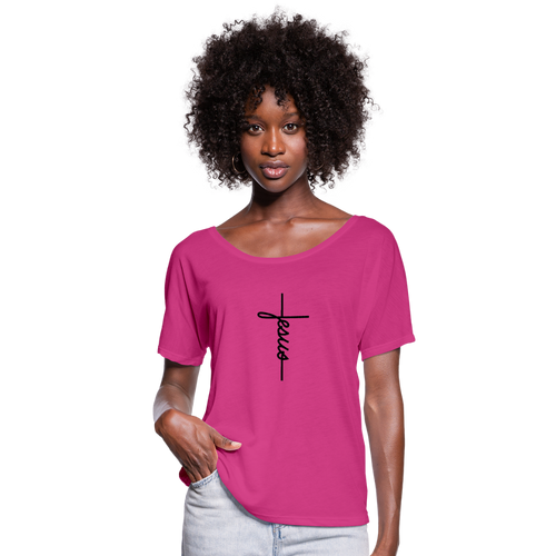 Signature Jesus Women's Flowy T-Shirt - dark pink