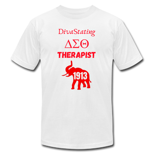 """DivaStating_Therapist"" Unisex Jersey T-Shirt by Bella + Canvas - white"