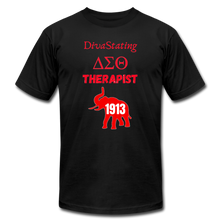 "Load image into Gallery viewer, ""DivaStating_Therapist"" Unisex Jersey T-Shirt by Bella + Canvas - black"