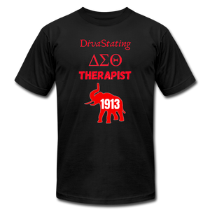 """DivaStating_Therapist"" Unisex Jersey T-Shirt by Bella + Canvas - black"
