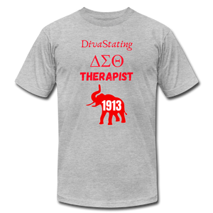 """DivaStating_Therapist"" Unisex Jersey T-Shirt by Bella + Canvas - heather gray"