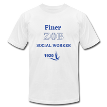 "Load image into Gallery viewer, FINER ZETA_Social Worker"" Jersey T-Shirt by Bella + Canvas - white"