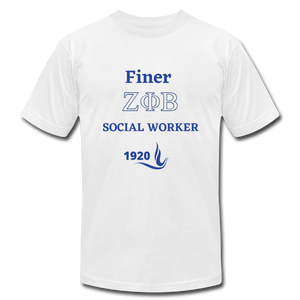 "FINER ZETA_Social Worker"" Jersey T-Shirt by Bella + Canvas - white"