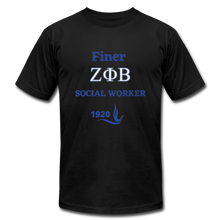 "Load image into Gallery viewer, FINER ZETA_Social Worker"" Jersey T-Shirt by Bella + Canvas - black"