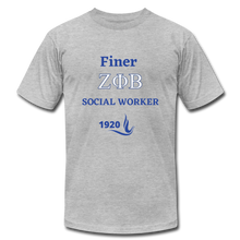 "Load image into Gallery viewer, FINER ZETA_Social Worker"" Jersey T-Shirt by Bella + Canvas - heather gray"