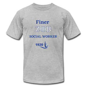 "FINER ZETA_Social Worker"" Jersey T-Shirt by Bella + Canvas - heather gray"