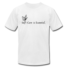 "Load image into Gallery viewer, ""Self Care is Essential"" Jersey T-Shirt by Bella + Canvas - white"