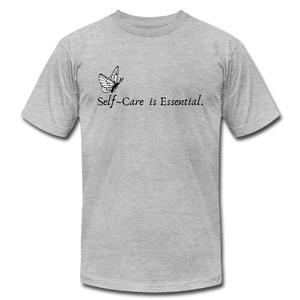 """Self Care is Essential"" Jersey T-Shirt by Bella + Canvas - heather gray"
