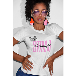"""Strong and Beautiful"" Jersey T-Shirt by Bella + Canvas"