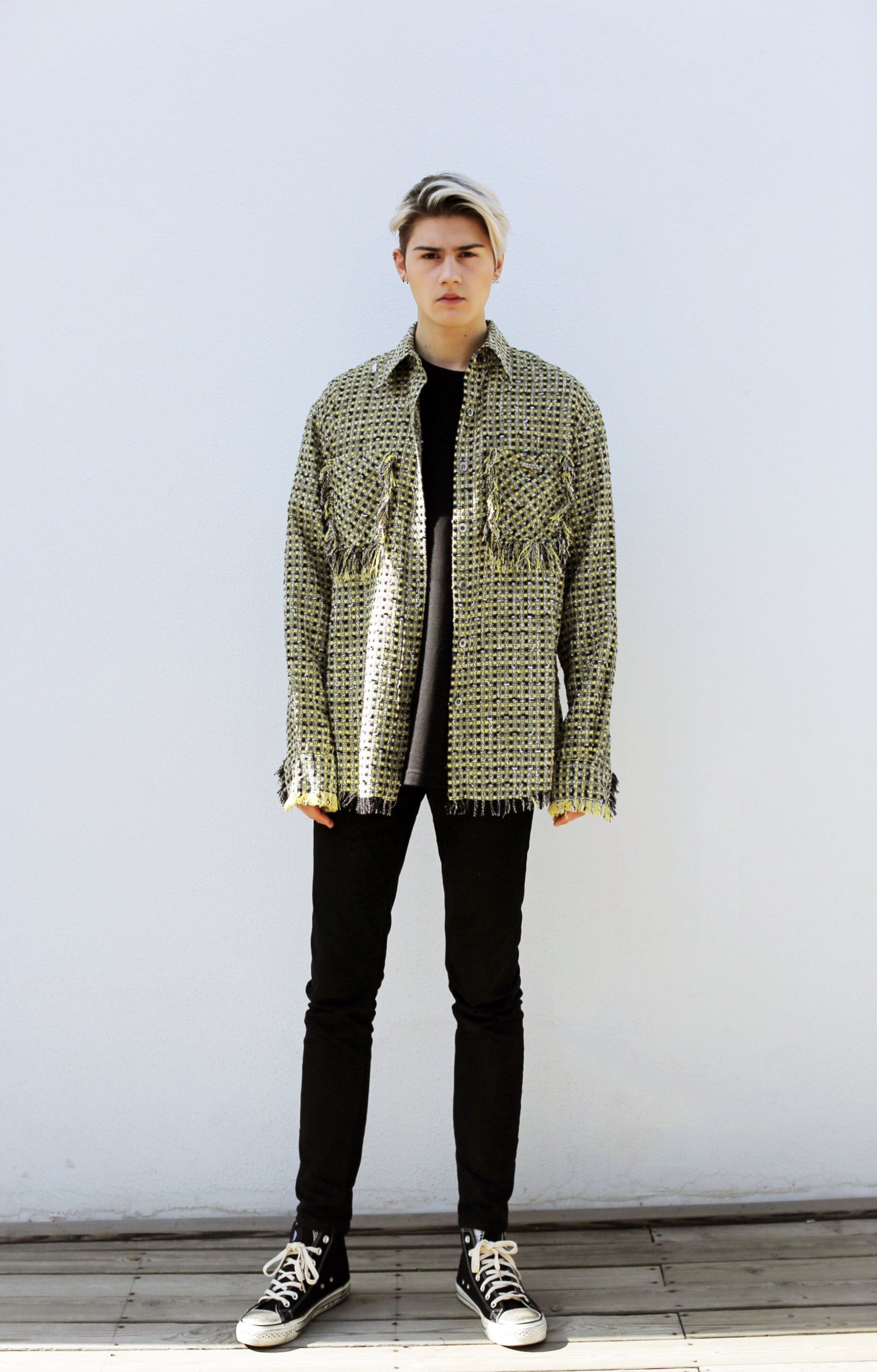 【Non-traditonalism】Wool-tweed Overshirt | Tone of Black&Yellow