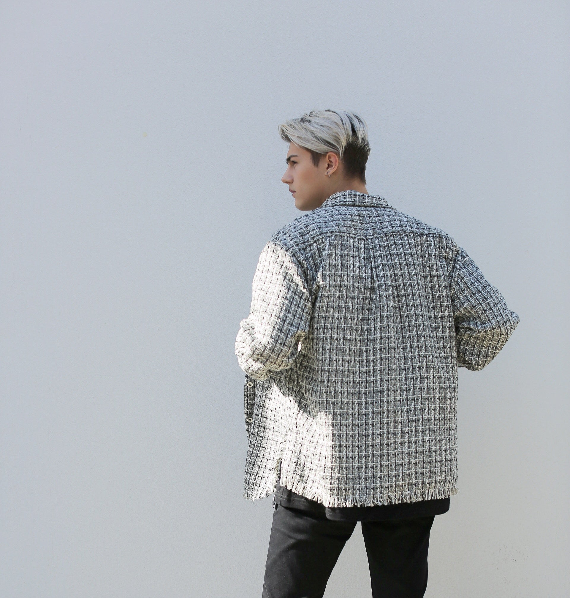 【Non-traditonalism】Wool-tweed Overshirt | Tone of Black&White