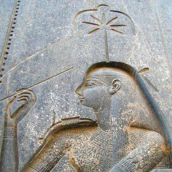 Old stone carving of hemp leaf
