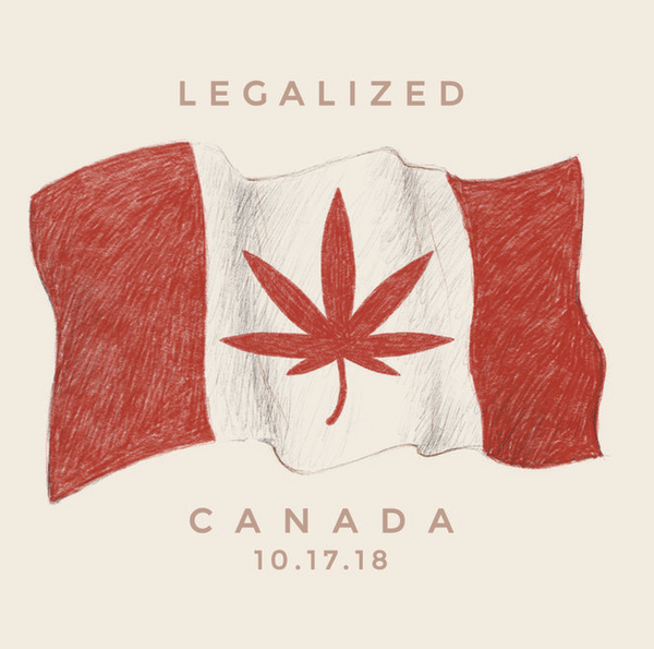 Canadian Flag with Cannabis leaf for legalization