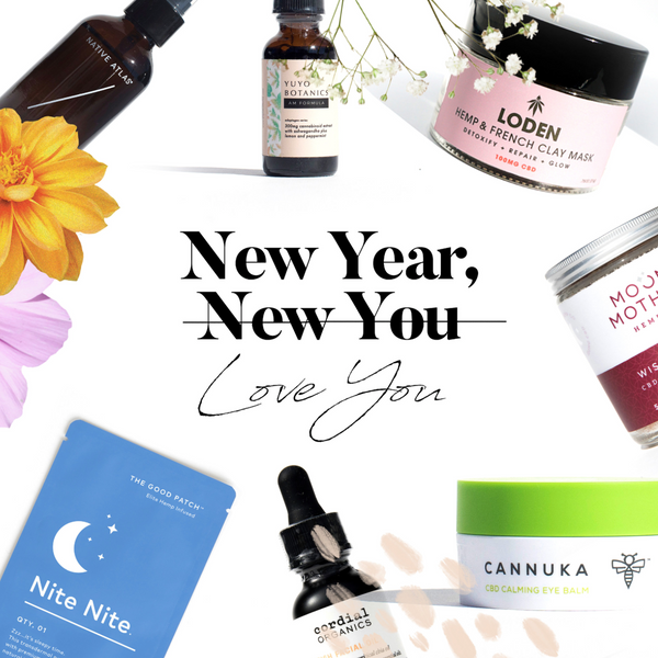 Collage of CBD and Hemp products for new Year New You guide