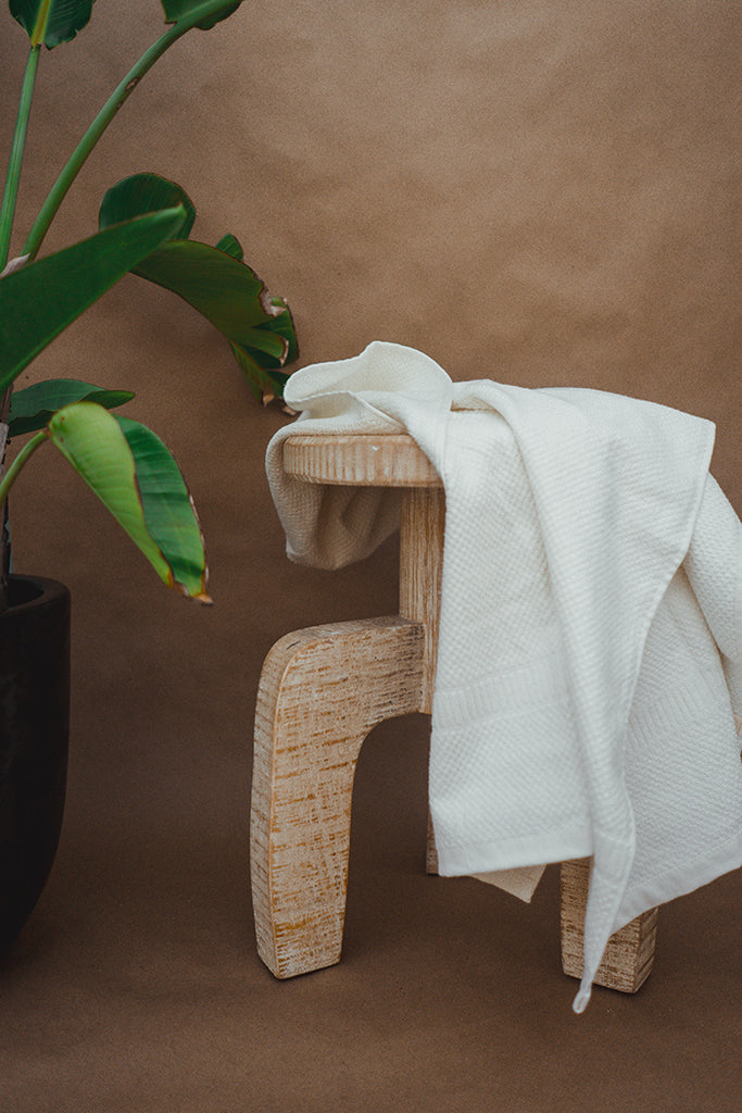 Anact Hemp towel on wooden stool