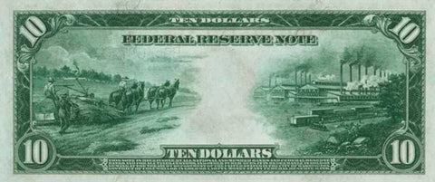 Old ten dollar bill with hemp farm image on it