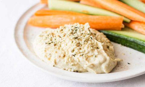 hummus dip with hemp seed hearts and veggies